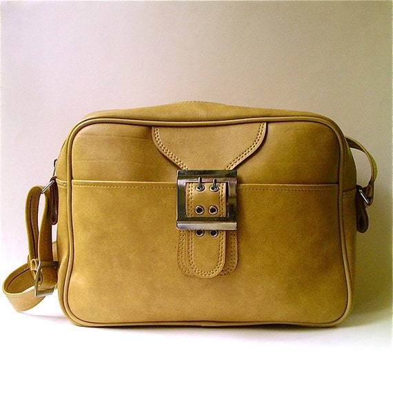 vintage Mustard Yellow Faux Leather  Universal Traveler Weekend Bag
