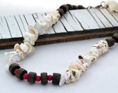 Dark Wood, Hot Pink Fossil and Shell Beads Choker/Necklace