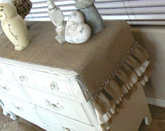 Burlap  Ruffled  Buffet Runner  Cottage Shabby Chic Decor