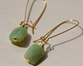 Faceted Sea Foam - Glass Earrings