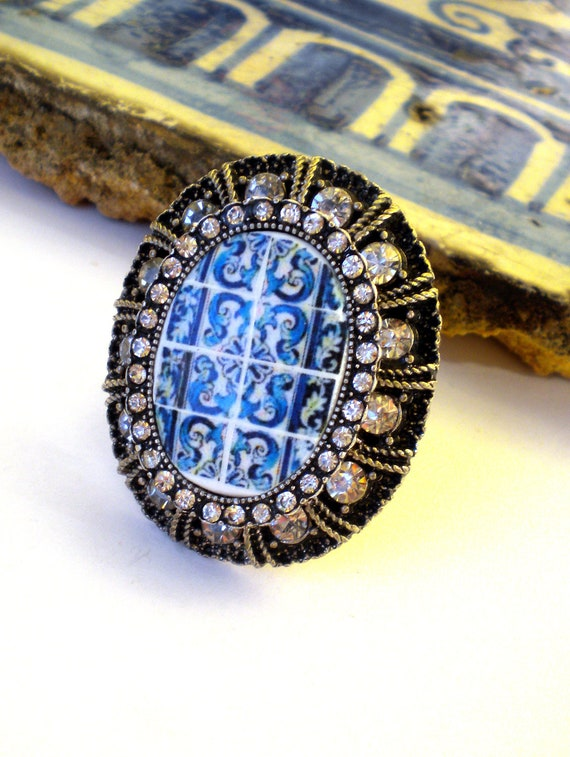 Portugal HUGE Blue Azulejo Stretchy Tile Ring with Rhinestones, Replicas from the AVEIRO Santa Joana Convent 1458