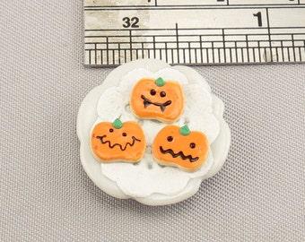 Dollhouse Miniature Halloween Pumpkin Cookies on Small Plate