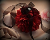 Lovely  7 Inch Silk Rose Pomander with Rhinestone Accent.. You Choose The Colors...shown in apple red/black organza