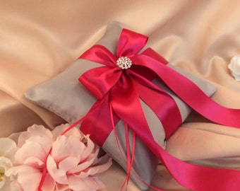 Romantic Satin Elite Ring Bearer Pillow...You Choose the Colors...Buy One Get One Half Off...shown in silver/dark fuschia pink