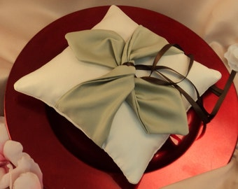 Knottie Ring Bearer Pillow...You Choose the Colors....Buy One Get One HALF OFF..shown in ivory/sage green