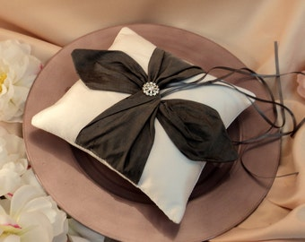 Dupioni Silk Knottie Ring Bearer Pillow with Rhinestone Accents...You Choose the Colors....BOGO Half Off...shown in white/pewter gray