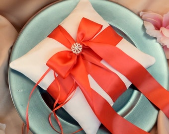Romantic Satin Elite Ring Bearer Pillow...You Choose the Colors...Buy One Get One Half Off...shown in white/guava coral