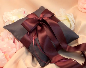 Romantic Satin Ring Bearer Pillow...You Choose the Colors...Buy One Get One Half Off...shown in charcoal gray/wine red