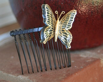 H20 ART DECO Black Gold Filigree BUTTERFLY Vintage Upcycled Hair Comb