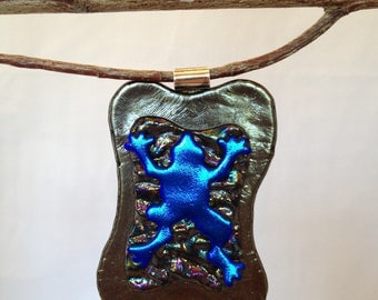 SALE! Bold Frog in Dichroic Glass Pendant