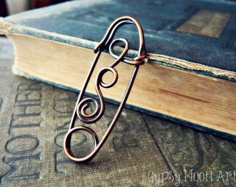 Copper Shawl Pin.  Copper Safety Pin Boho Spiral Brooch Kilt Pin