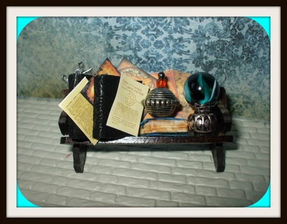 Gothic Witch Wizard Magic dollhouse miniature Book  aged Spell shelf