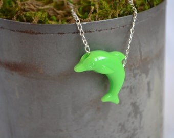 Neon DOLPHiN Charm Necklace. Choose Your Color