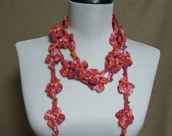 Beaded Flower Lariat in Variegated Orange, Pink and Magenta Purple - Ready To Ship Long Crochet Woman's Skinny Scarf
