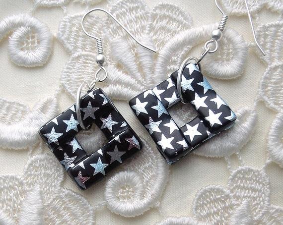 Star Earrings - Retro - Dichroic Fused Glass Earrings - Glass Earrings - Funky - Glass Bead -X3694