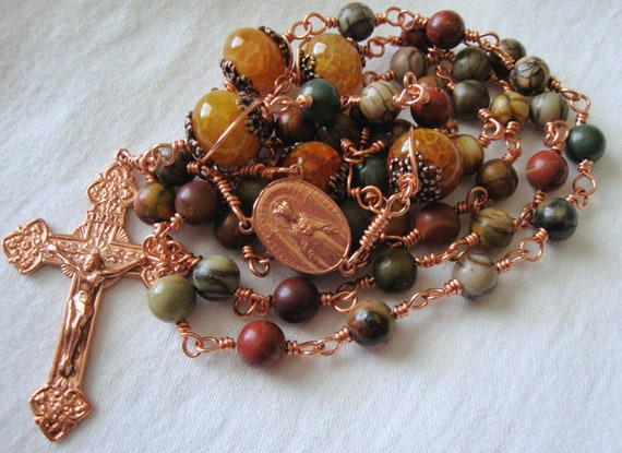 Catholic Rosary of Picasso Jasper and Copper