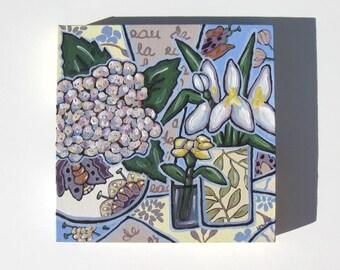 Pastel Still Life Original Acrylic Painting Original on Canvas, Hydrangea and Iris, Shabby Cottage decor, gift idea