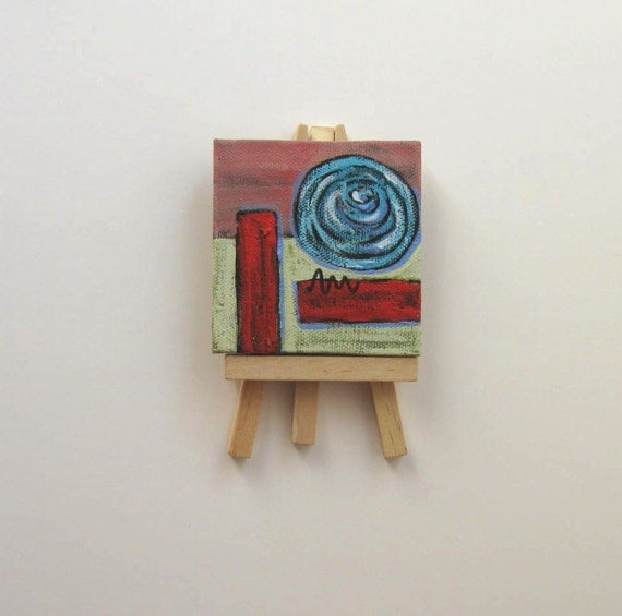 Red Mini Canvas Abstract Painting, original acrylic