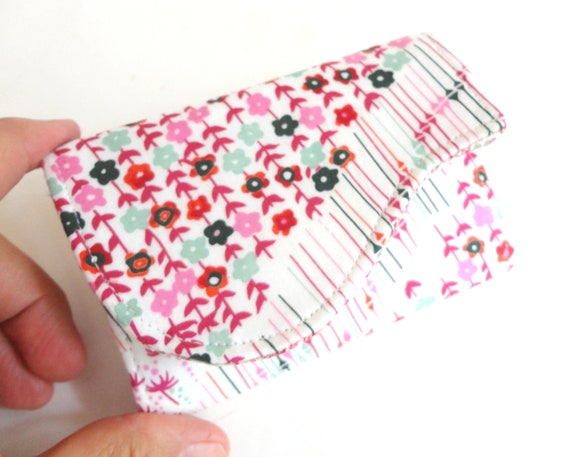 Business Card Holder - Poppy Red Pink Aqua Petite Floral Fabric Handmade Card Wallet - Lil Fleur