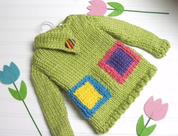 Sweater Knitting Pattern Blocks of Color Split Funnel Neck Child 3 to 8 years old