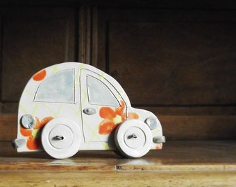 Ceramic Flower-Car on Wheels for Your Home - Home Decor