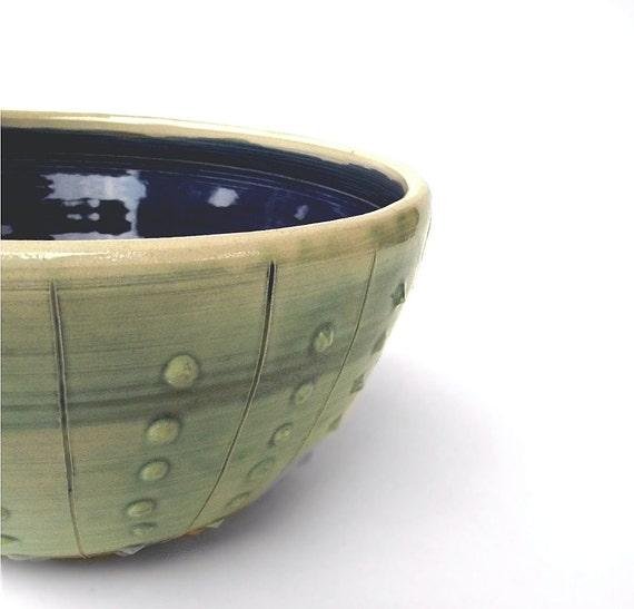 Bowl  Stoneware green blue Wheel thrown Cactus Bowl in Green and Blue- Stoneware (grès) Bowl
