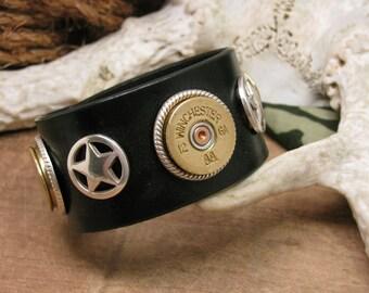 Shotgun Casing Jewelry - Leather Cuff - Unisex Lone Star Black and Silver Winchester 12 Gauge Cuff Bracelet