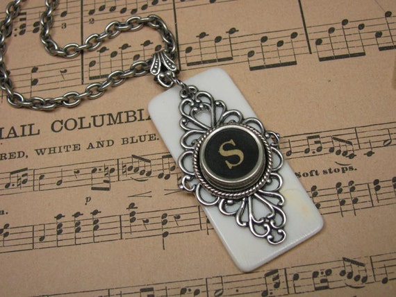 Piano Key Jewelry - Authentic Ivory Piano Keytop with Black Initial S Typewriter Key Pendant Necklace