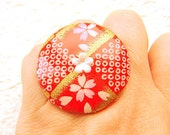 Cherry Blossom Chiyogami Ring Japanese Washi Yuzen Paper Ring SALE
