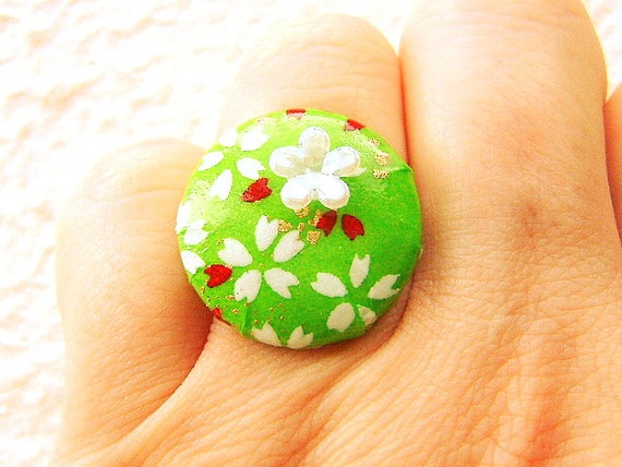 Chiyogami Ring Japanese Yuzen Paper Ring Cherry Blossoms Green SALE