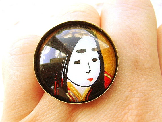Japanese  Ring  Yuzen  Washi Chiyogami  Paper Ring Domed Glass Japanese Woman