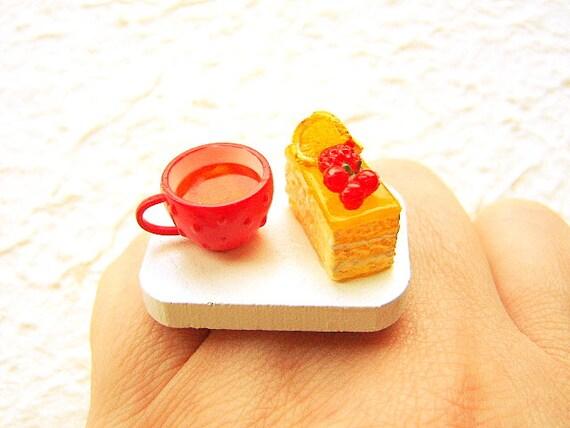 Tea Ring Miniature Food Jewelry Tea And Lemon Cake SALE
