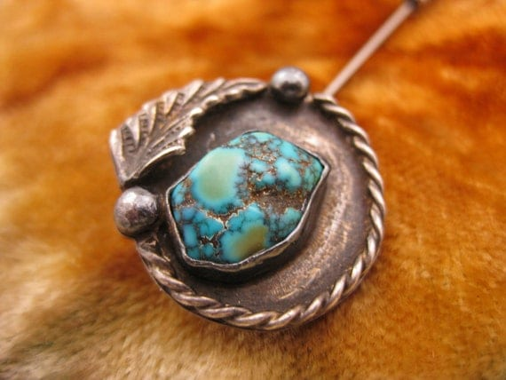 Hat Pin - Tie Stick - Sterling Silver - Turquoise - Native American - Southwest Jewelry - Circular - Tribal Design - Signed Inscribed