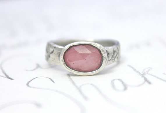 large pink sapphire engagement ring . rose cut sapphire alternative engagement ring . recycled silver cocktail fashion ring . free shipping