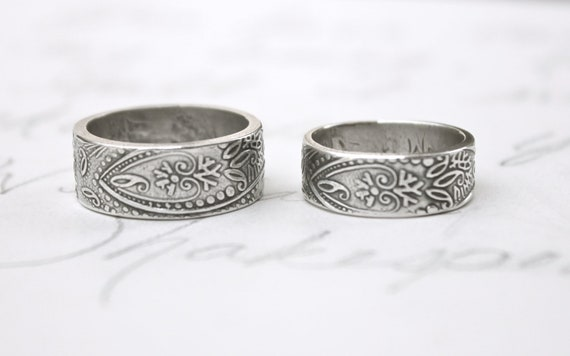 bohemian paisley wedding band ring set . wide thick engraved wedding rings . recycled silver by peaces of indigo