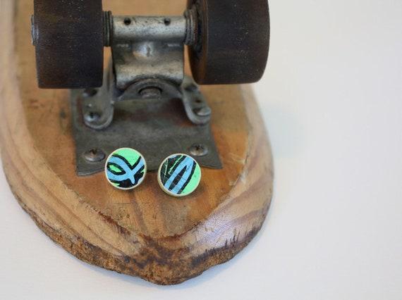 Recycled Skateboard Large Stud Earrings-Written on the Wall
