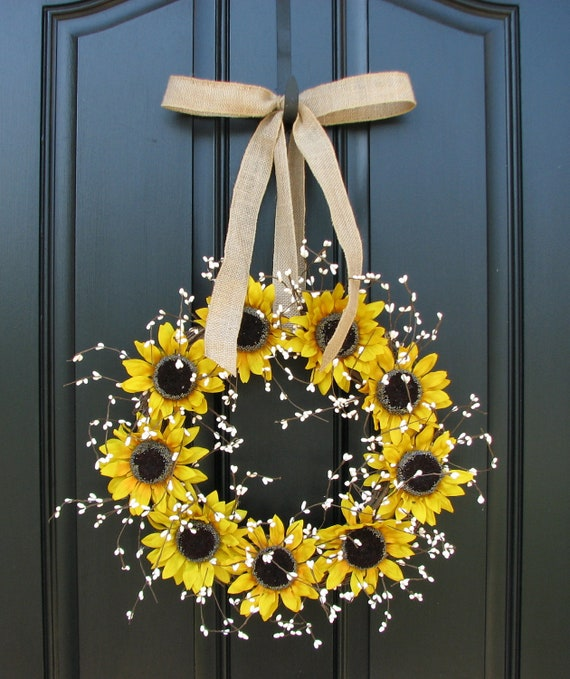 Sunflower Wreaths - Berry Wreath - Fall Decor - Front Door Originals - Burlap Bows - Country Chic