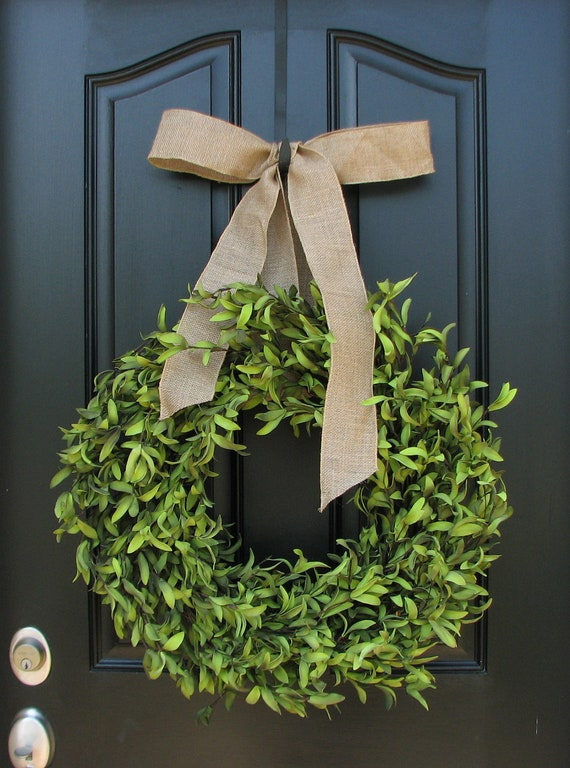 """Boxwood Wreaths - 17"""" Artificial Boxwood - Boxwood Decor - Year Round Wreath - Simple and Modern - Burlap Bows"""