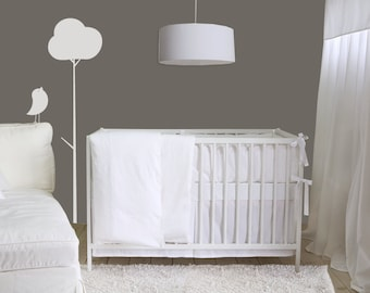 Baby Bedding - Pure white 4 pc Crib Set - Blanket, Bumper, Skirt and fitted sheet