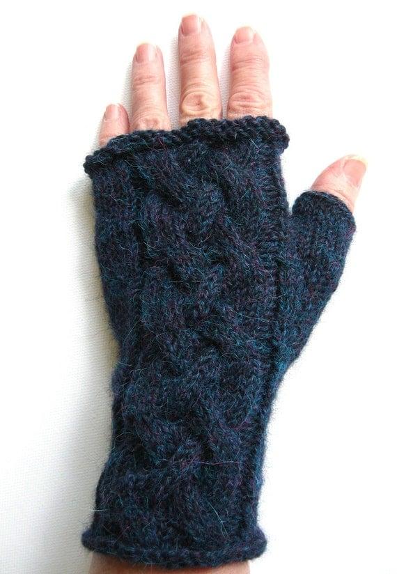 Blue Heather Fingerless Gloves for Women
