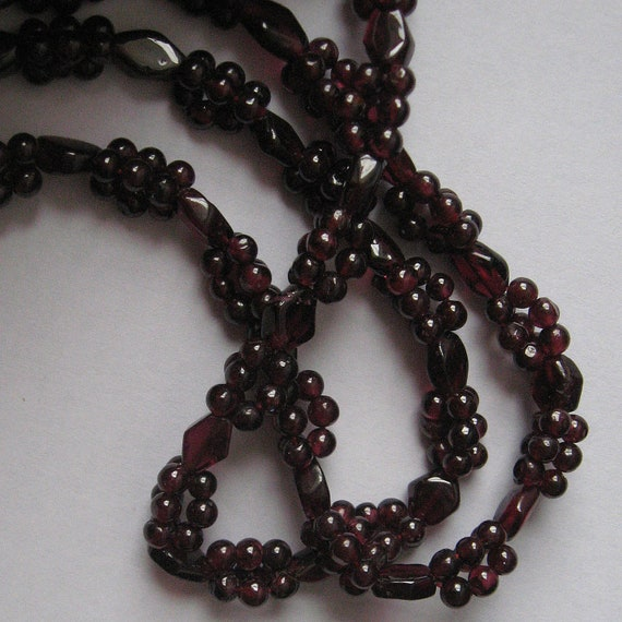 RESERVED for PatB, beaded vintage garnet necklace, just over 34 inches long, free US shipping