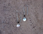 Mini Sterling Silver Disk Earring with Black Glass Delicas and Sterling Silver Beads and Earwires.