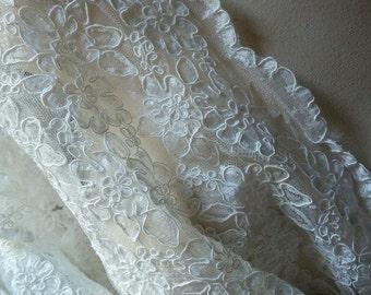 Cream Ivory Lace Alencon Lace for Bridal