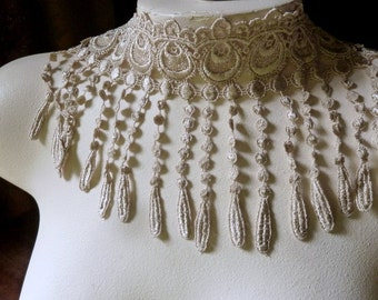 Beige Taupe Peacock Venise Style Fringe Lace for Bridal, Corsets, Belly Dance Costumes FR 1cb