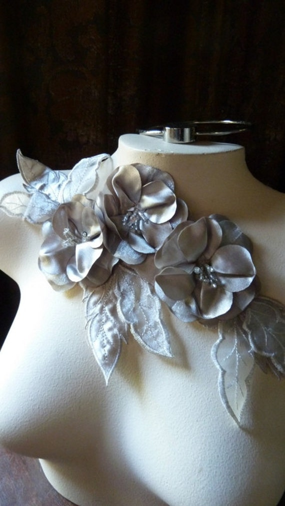 RESERVED for Sharon only Flower Applique in Gray Satin Beaded  CA 714gray