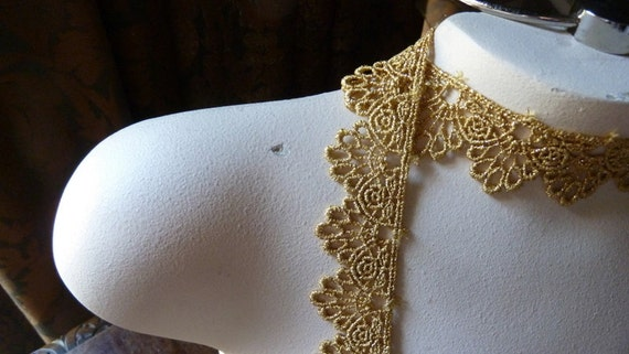 2 YARDS Lace in Metallic Gold Venise Style for Lyrical Dance, Crowns, Bridal,  Costume or Jewelry Design GL 8