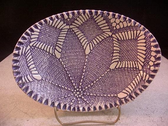 Ceramic Soap Dish, Pottery, Bowl, Tray, Spoonrest, Candleholder, Lavender, Purple, Amethyst