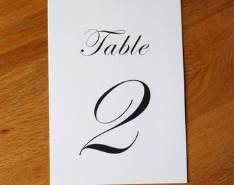 """Elegant Text Design - Flat Table Numbers - 5 x 7"""" for Wedding Reception"""