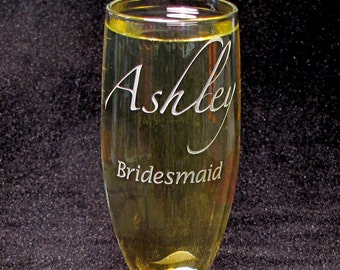 3 Personalized Wedding Glasses, Bridesmaids Gifts Champagne Flutes