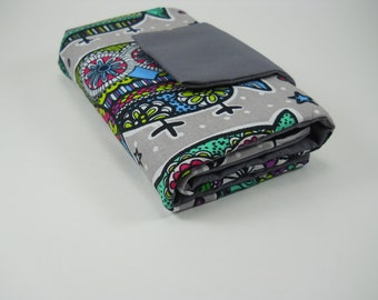 INTERCHANGEABLE NEEDLE CASE-knitting needle case with colorful owls, grey fabric,organizer pouch